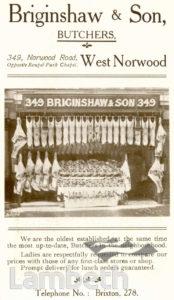 BRIGINSHAW & SON, NORWOOD ROAD, WEST NORWOOD : ADVERTISEMENT