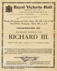 ROYAL VICTORIA HALL, WATERLOO: PROGRAMME