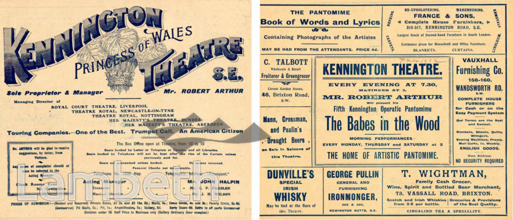 KENNINGTON THEATRE, KENNINGTON ROAD: PROGRAMME