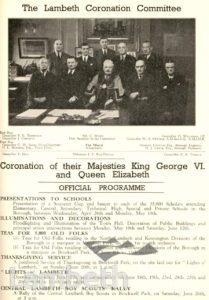 CORONATION CELEBRATIONS, LAMBETH TOWN HALL : PROGRAMME