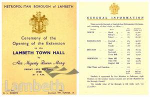 LAMBETH TOWN HALL, BRIXTON CENTRAL : SOUVENIR PROGRAMME