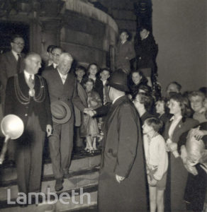 LAMBETH TOWN HALL, BRIXTON CENTRAL: CHAPLIN'S VISIT