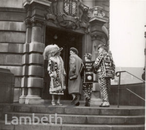 PEARLY KING AND QUEEN, LAMBETH TOWN HALL, BRIXTON CENTRAL