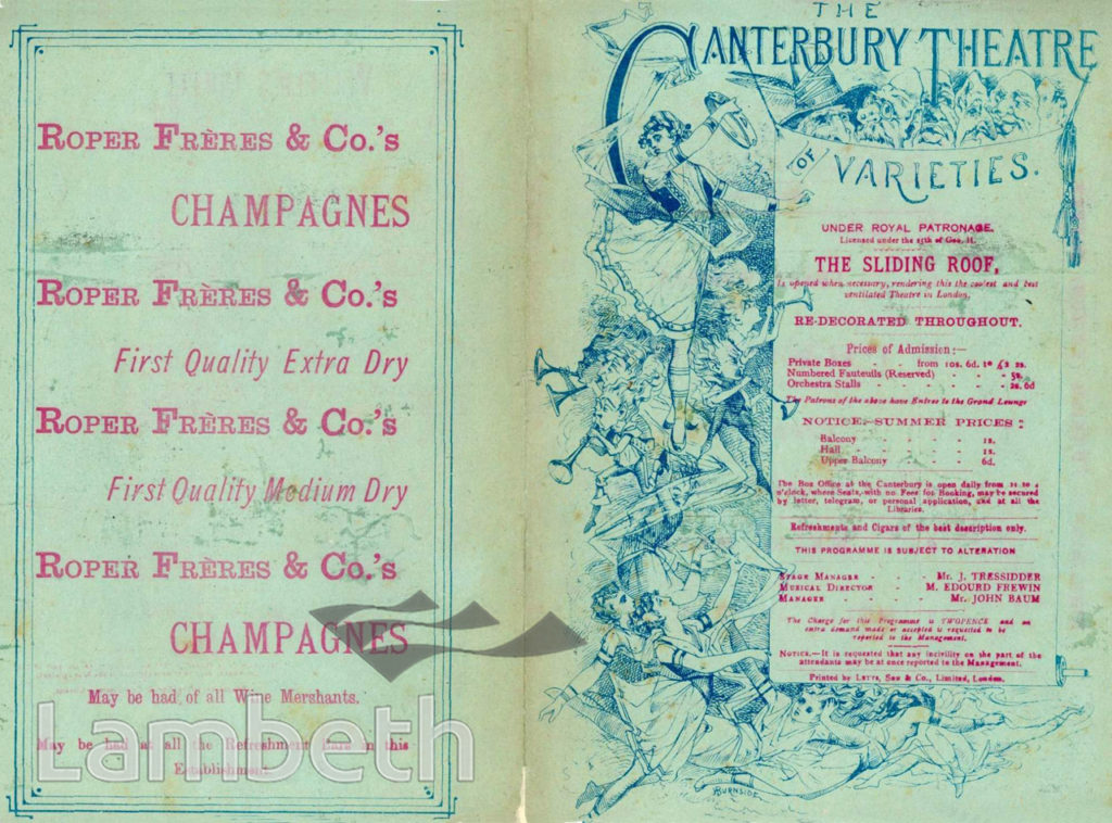 CANTERBURY THEATRE, UPPER MARSH, WATERLOO : PROGRAMME