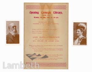 CARNEGIE LIBRARY, HERNE HILL: PROGRAMME