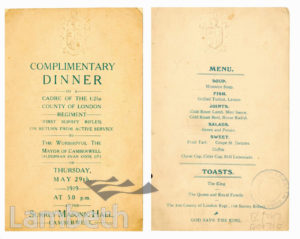 FIRST SURREY RIFLES : MENU, COMPLIMENTARY DINNER