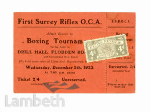 FIRST SURREY RIFLES : BOXING TOURNAMENT TICKET
