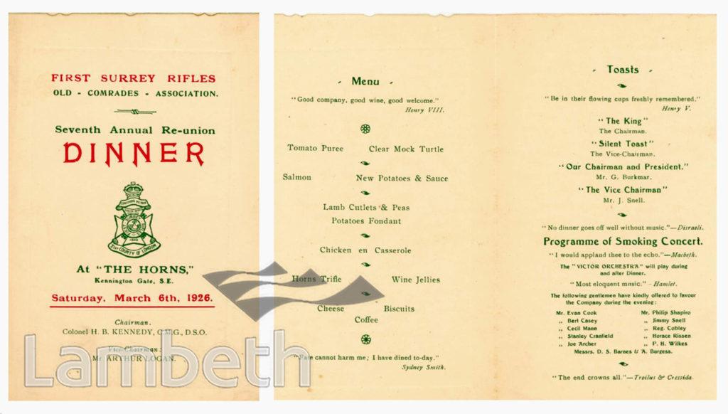 FIRST SURREY RIFLES : RE-UNION DINNER PROGRAMME