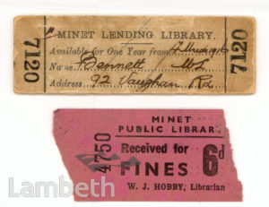 MINET LIBRARY, KNATCHBULL ROAD, NORTH BRIXTO :LIBRARY TICKET