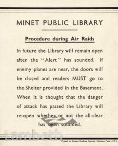 MINET LIBRARY, KNATCHBULL ROAD, NORTH BRIXTON : NOTICE
