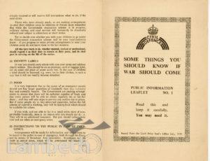 CIVIL DEFENCE, LEAFLET No. 1: WORLD WAR II