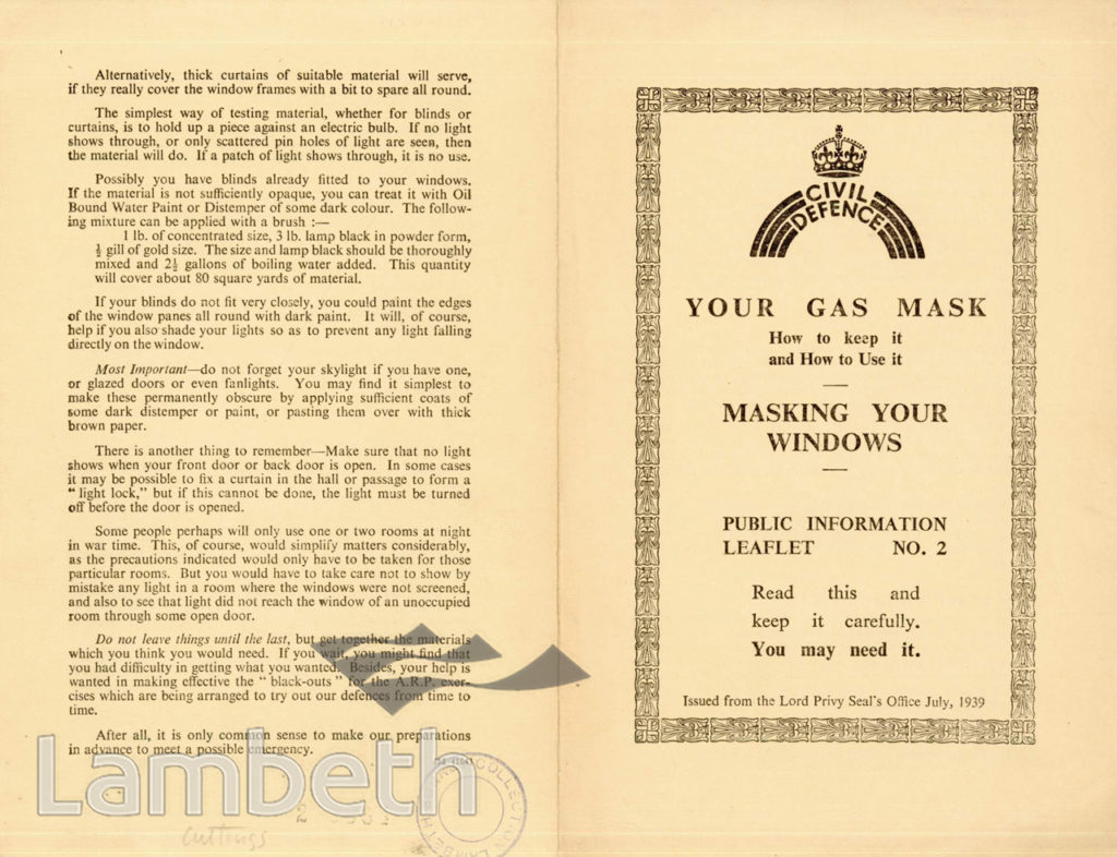 CIVIL DEFENCE, LEAFLET No. 2: WORLD WAR II