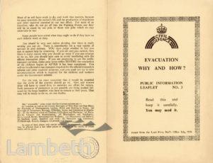 CIVIL DEFENCE, LEAFLET No. 3: WORLD WAR II
