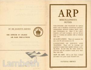 CIVIL DEFENCE, ARP APPLICATION FORM: WORLD WAR II
