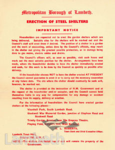 CIVIL DEFENCE, AIR RAID SHELTERS, NOTICE: WORLD WAR II