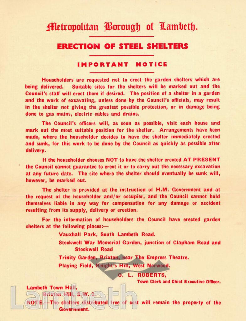 CIVIL DEFENCE, AIR RAID SHELTERS, NOTICE: WORLD WAR II