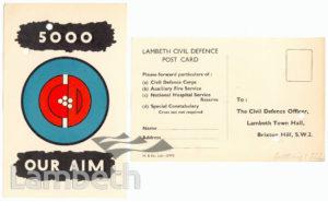 CIVIL DEFENCE, POST CARD: WORLD WAR II
