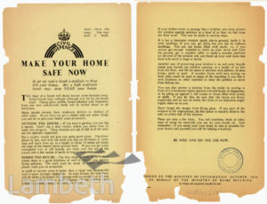 CIVIL DEFENCE LEAFLET, MAKE YOUR HOME SAFE: WORLD WAR II