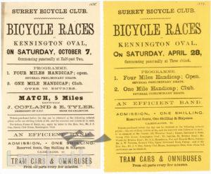 BICYCLE RACE, SURREY BICYCLE CLUB, KENNINGTON: POSTER