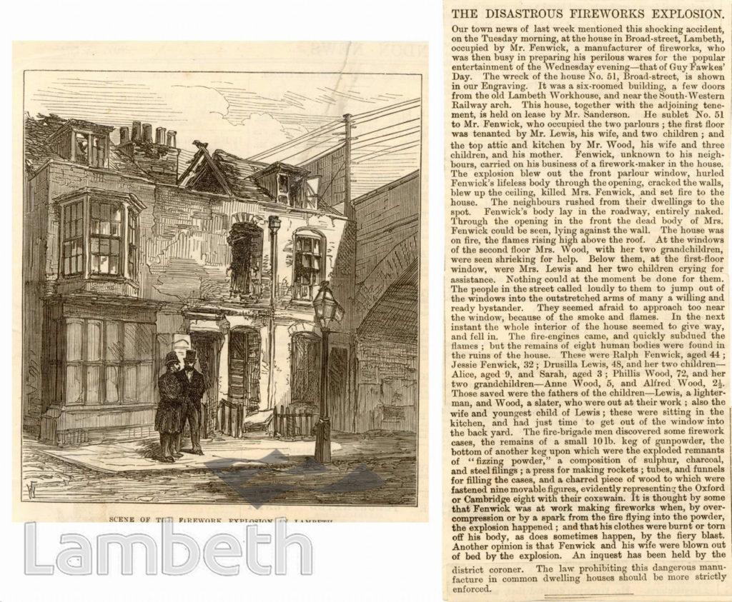 EXPLOSION OF FIREWORKS, BROAD STREET, LAMBETH