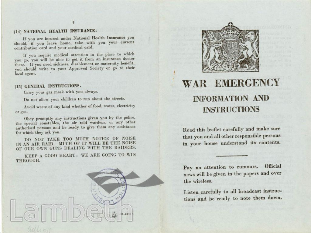 CIVIL DEFENCE, WAR EMERGENCY LEAFLET: WORLD WAR II