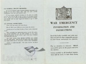 CIVIL DEFENCE, WAR EMERGENCY LEAFLET: WORLD WAR II