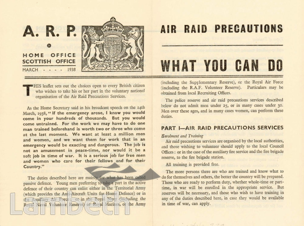 CIVIL DEFENCE LEAFLET, AIR RAID PRECAUTIONS: WORLD WAR II