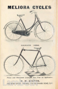 MELIORA CYCLE WORKS,  CLAPHAM ROAD, STOCKWELL: ADVERTISEMENT