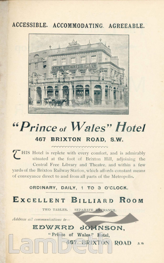 PRINCE OF WALES, BRIXTON ROAD: ADVERTISEMENT