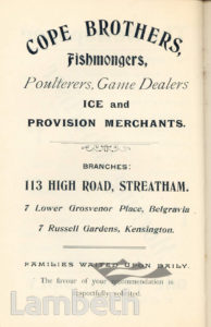 COPE BROTHERS, STREATHAM HIGH ROAD: ADVERTISEMENT