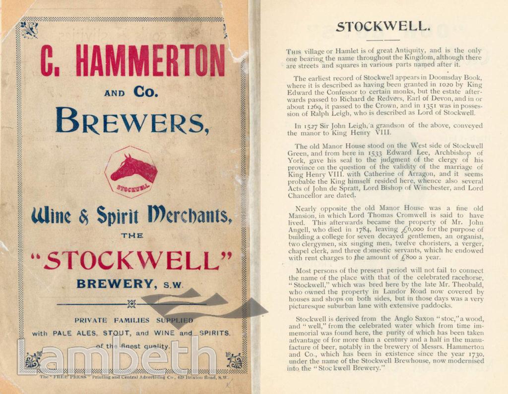 HAMMERTON & CO., BREWERY, STOCKWELL: ADVERTISEMENT