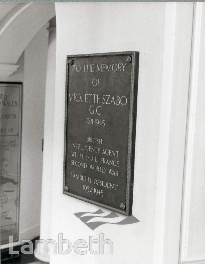 MEMORIAL PLAQUE, VIOLETTE SZABO, LAMBETH TOWN HALL