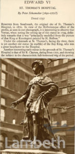 EDWARD VI, ST. THOMAS'S HOSPITAL, LAMBETH: STATUE