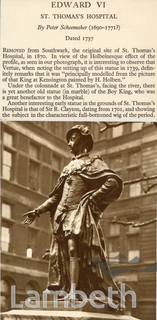 EDWARD VI, ST. THOMAS'S HOSPITAL, LAMBETH: STATUE