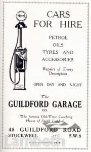 GUILDFORD GARAGE, SOUTH LAMBETH: ADVERTISEMENT
