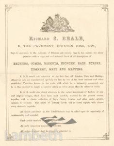 RICHARD BEALE, THE PAVEMENT, BRIXTON RISE: ADVERTISEMENT