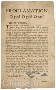 PROCLAMATION, KENNINGTON COMMON: HANDBILL