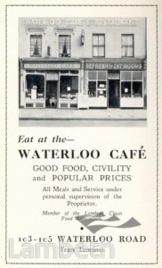 WATERLOO CAFE, WATERLOO: ADVERTISEMENT