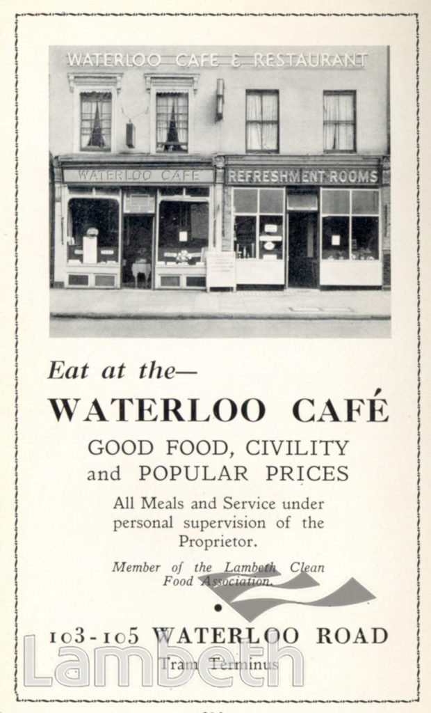 WATERLOO CAFE, WATERLOO: ADVERTISEMENT