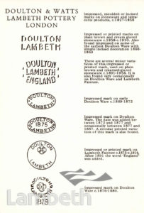 DOULTON & WATTS LAMBETH POTTERY: TRADE MARKS