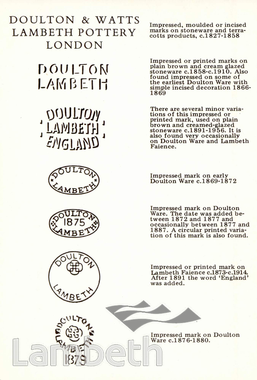 DOULTON & WATTS LAMBETH POTTERY: TRADE MARKS - LandmarkLandmark