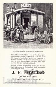 DAIRY, J. E. ROWLING, LAMBETH: ADVERTISEMENT