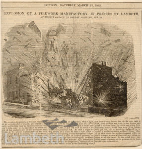 EXPLOSION OF FIREWORKS, PRINCES STREET, LAMBETH