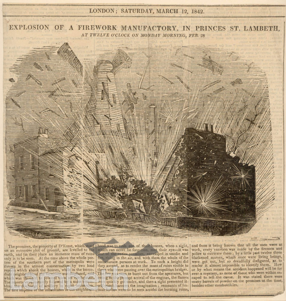 EXPLOSION OF FIREWORKS, PRINCES STREET, LAMBETH