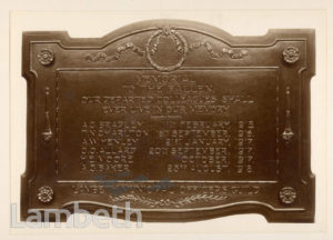 MEMORIAL PLAQUE, LAMBETH TOWN HALL: WORLD WAR I