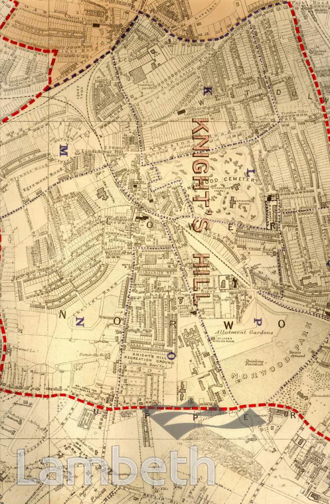 KNIGHT'S HILL WARD, PARISH MAP, WEST NORWOOD