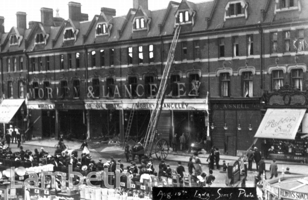 FIRE AT MORLEY'S STORE, BRIXTON ROAD, BRIXTON CENTRAL