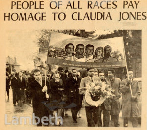 FUNERAL OF CLAUDIA JONES, BLACK LEADER AND JOURNALIST