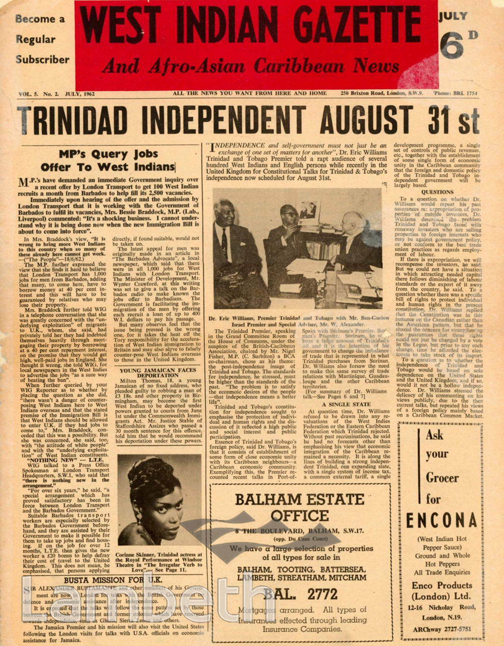 WEST INDIAN GAZETTE, COVER OF THE JULY ISSUE