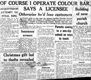 SOUTH LONDON PRESS CUTTING: 'I OPPERATE COLOUR BAR'